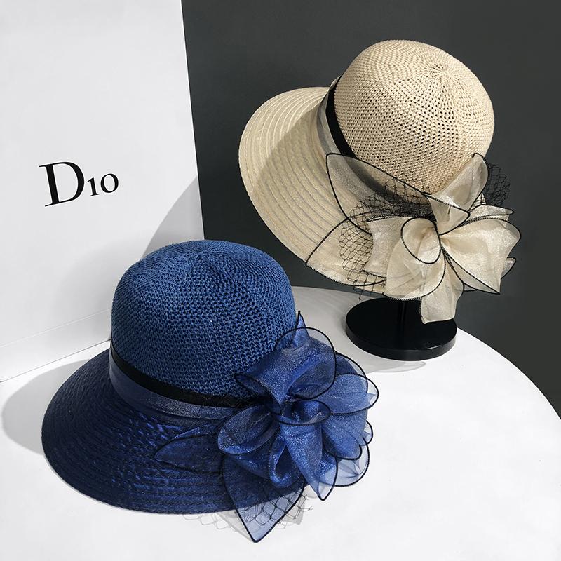 タオバオ仕入れ代行-ibuy99|帽子|夏季欧根纱帽子遮阳帽女防晒渔夫帽出游沙滩帽防紫外线花朵太阳帽
