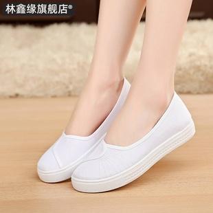 软底透气不累脚白色平底夏护士鞋