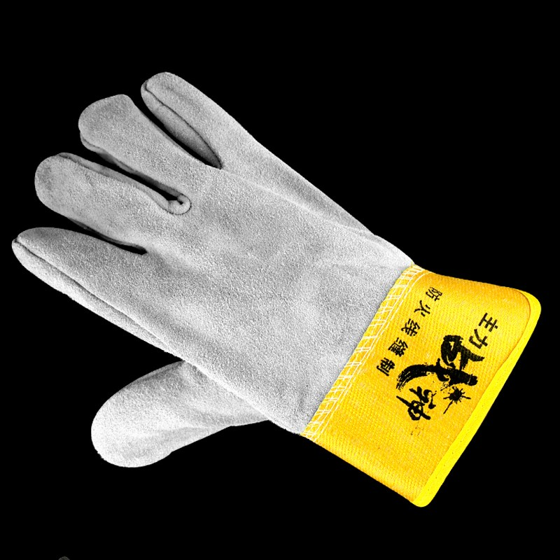 Electric welding cowhide gloves full length suede soft wear resistant tear resistant anti scald labor protection welder short leather gloves package