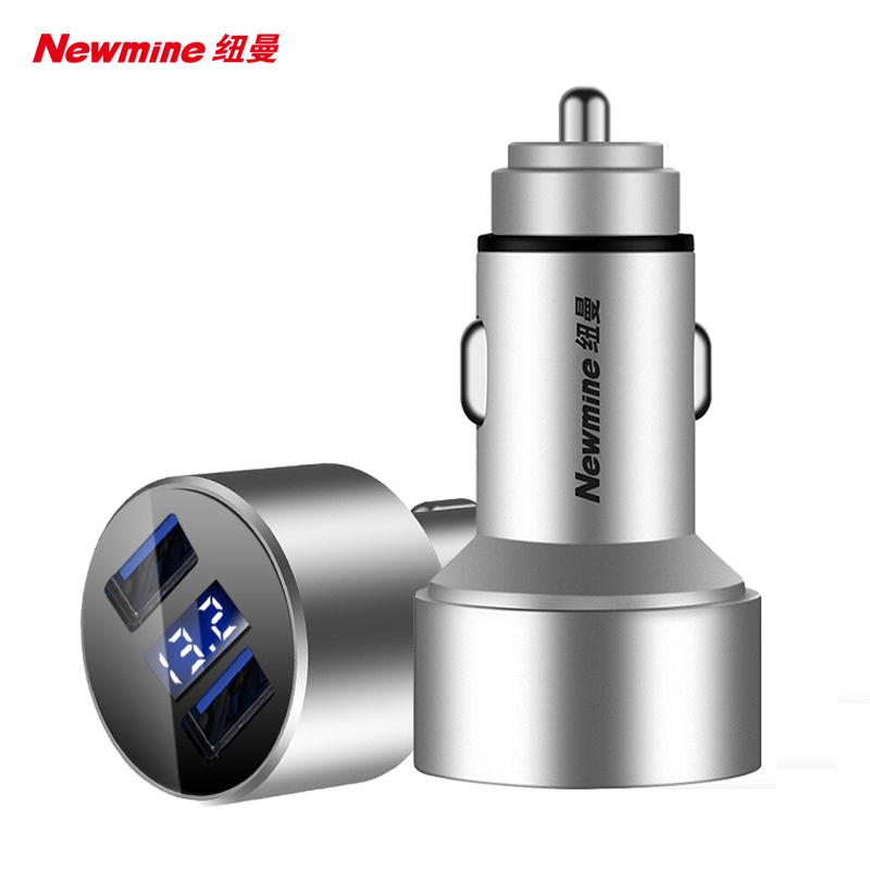 纽曼车载充电器多功能点烟器转换一拖二USB车充金属快充电压显示