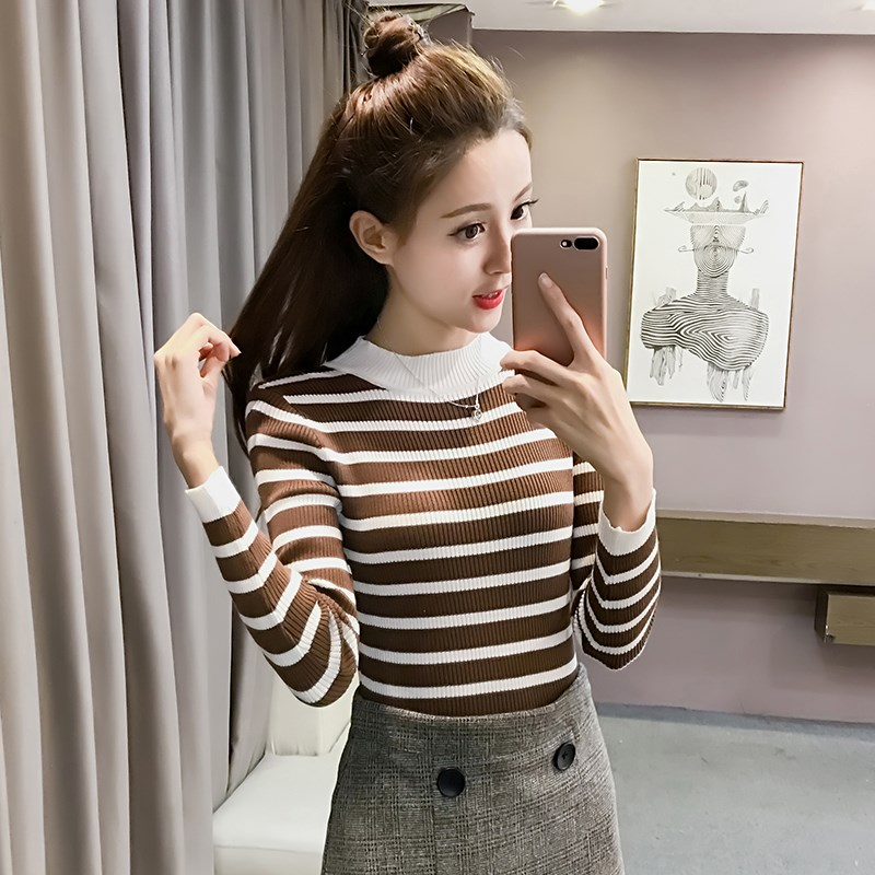 Autumn bottoming shirt womens short Pullover striped top thin sweater long sleeve T-shirt slim fit and skinny knitwear
