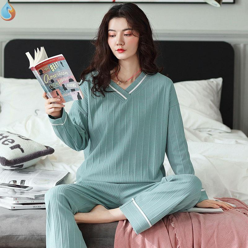 Pajamas womens cotton long sleeve Pullover cotton home wear set autumn and winter