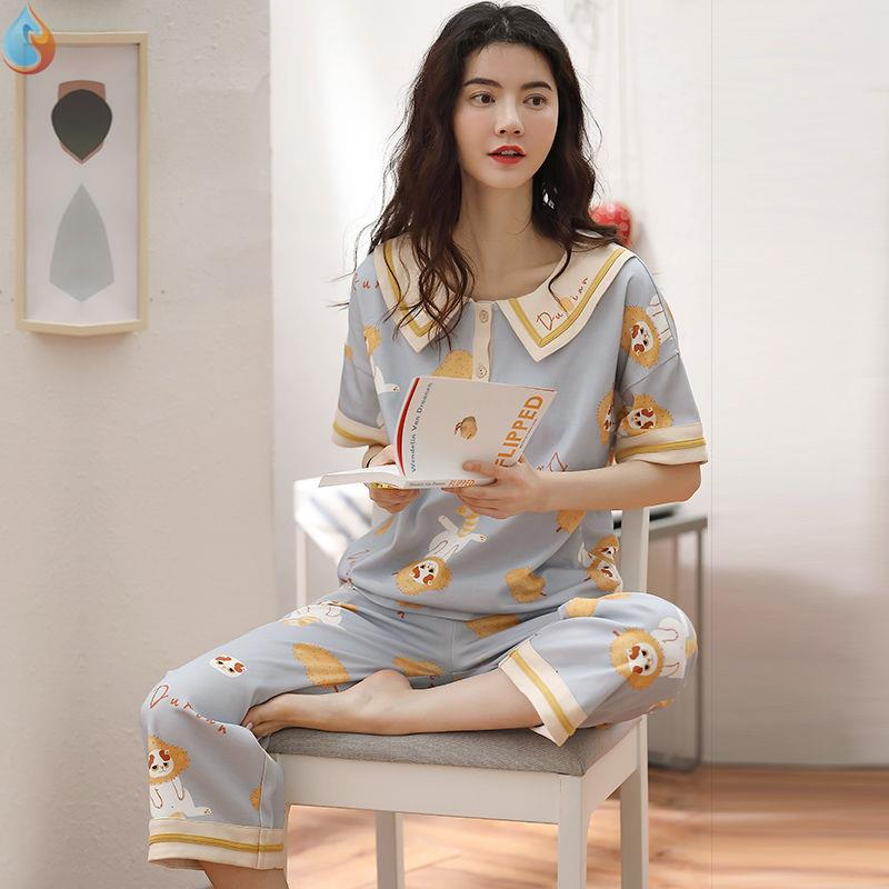 Spring and summer thin lovely pajamas women pure cotton short sleeve pants Korean fresh student home wear suit can be worn out in autumn