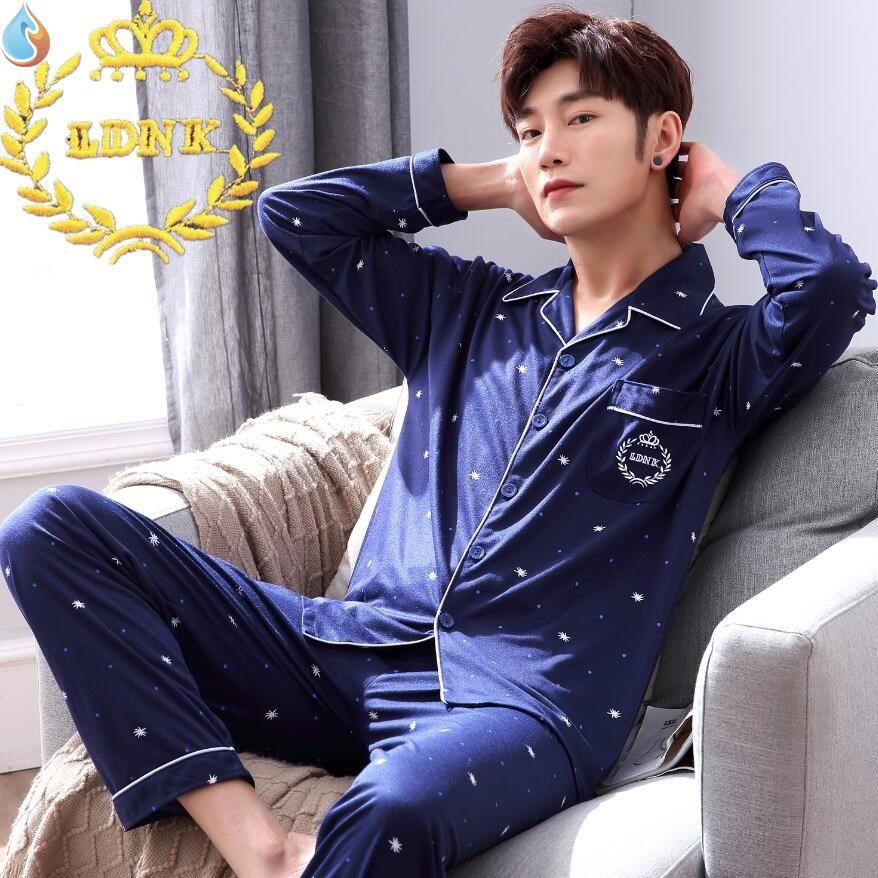Pajamas mens long sleeve cotton Seasonal Winter womens cotton thin middle aged summer summer summer home wear set