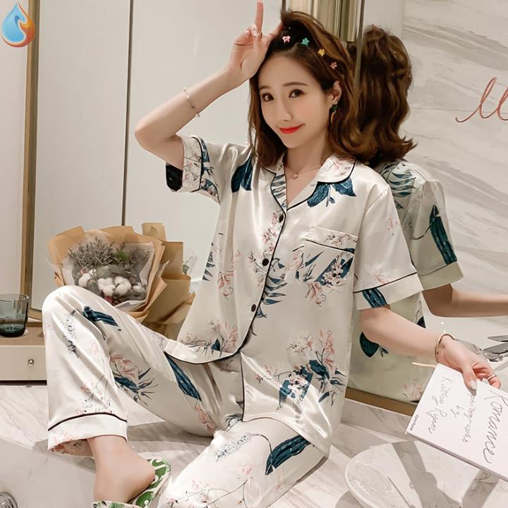 Pajamas womens summer ice silk thin short sleeve two piece set lovely net red large home clothes