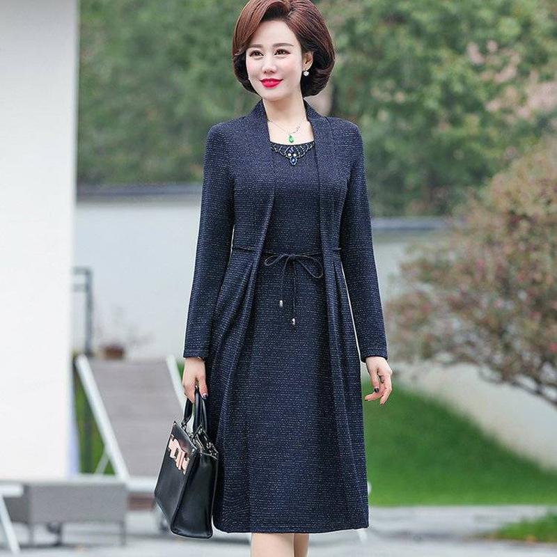 妈妈春秋装2019新款中老年女装假两件连衣裙阔太太洋气连衣裙外套