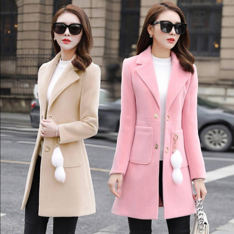 新款秋冬女装大码中长款毛呢外套韩版呢子大衣显瘦学生长袖开衫女