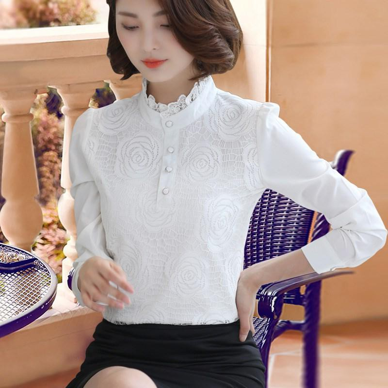 Japan. Black lace shirt with bottom layer for womens warm autumn 2020 new winter high collar Plush thickened shirt