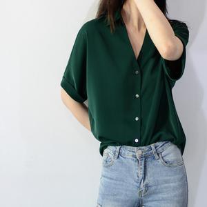 trr独家洋气fashion墨绿夏女衬衫