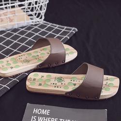 2020夏季 新款按摩鞋男式 无油漆制作木拖鞋夏木屐 居家木鞋包邮