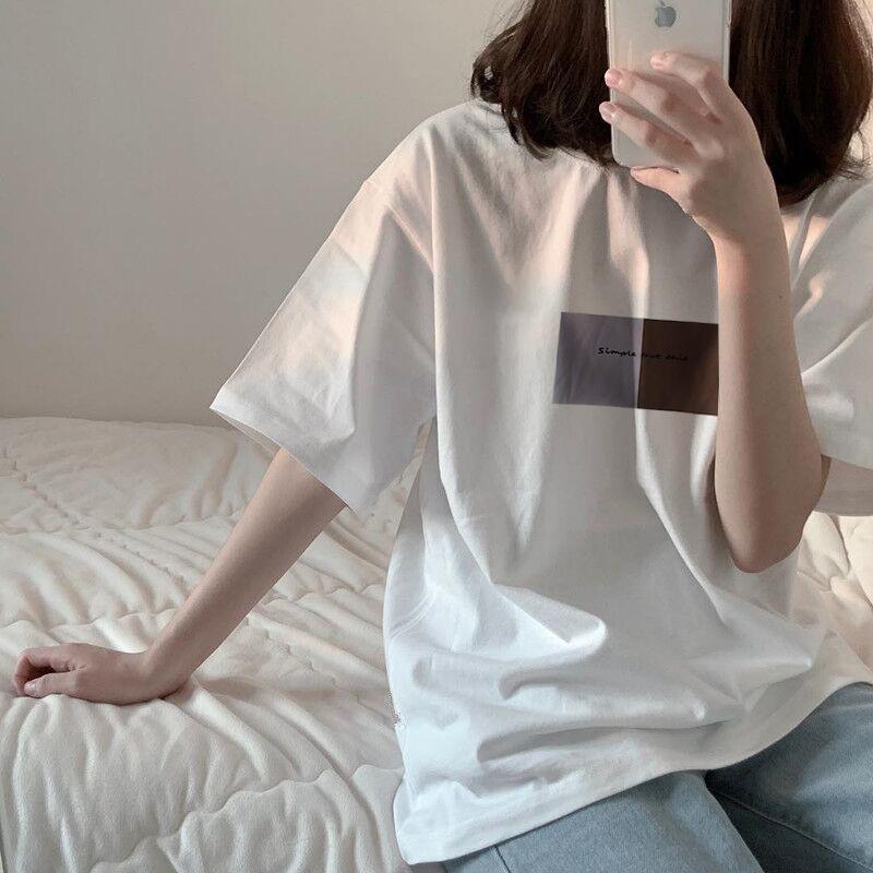 白色短袖t恤女学生韩版宽松夏季学院风百搭休闲五分袖新款ins上衣