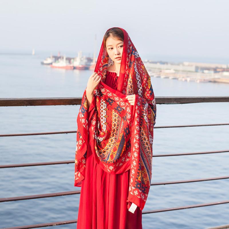 民族风披肩女超大防晒夏季薄款外搭沙滩丝巾旅游拍照红-滩茶(艾贝姿旗舰店仅售16.8元)