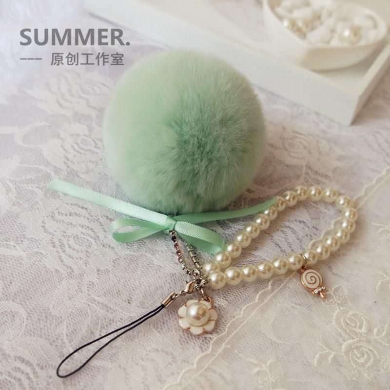 新品特惠 韩国手机挂饰毛绒可爱创意手机挂件饰品兔毛球挂链吊坠