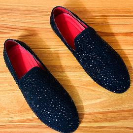 带钻男鞋时尚潮鞋韩版英伦发型师小皮鞋一脚蹬潮流百搭个性豆豆鞋