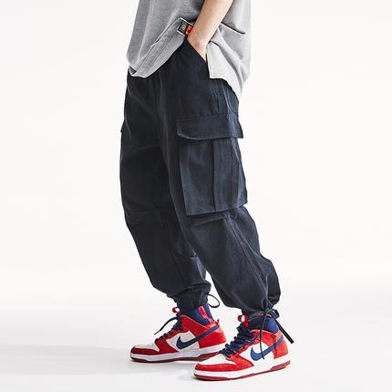 倔强工作室男生工装裤美式直筒宽松束脚裤子美式多口袋休闲裤男