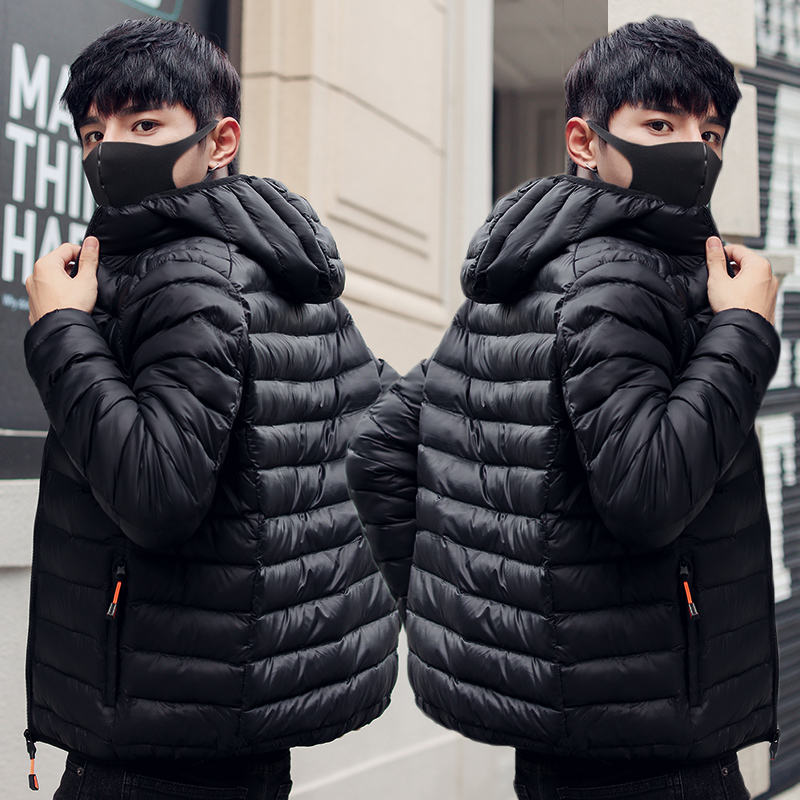 Cotton padded jacket mens coat 2020 new student light down cotton padded jacket slim and handsome fashion brand short hooded cotton padded jacket