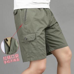 男士五分裤爸爸短裤夏季外穿中老年人纯棉工装休闲中裤宽松大裤衩