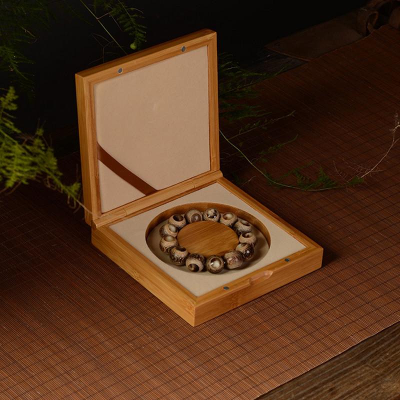 [magnetic absorption bamboo hinge box 15 * 15 hand string style] bamboo Buddha beads string jewelry box bracelet necklace bamboo box customized