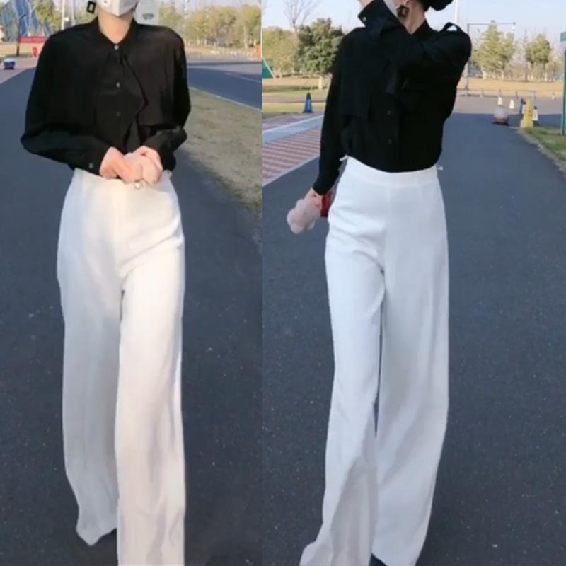 白色阔腿裤女抖音网红同款百搭气质显瘦高级OL直筒长裤春秋2021夏