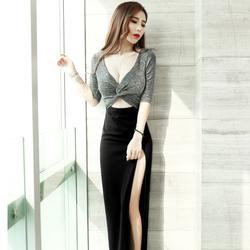 高档夜店性感女装裙子2020新款秋冬显瘦气质连衣裙夜场包臀高开叉