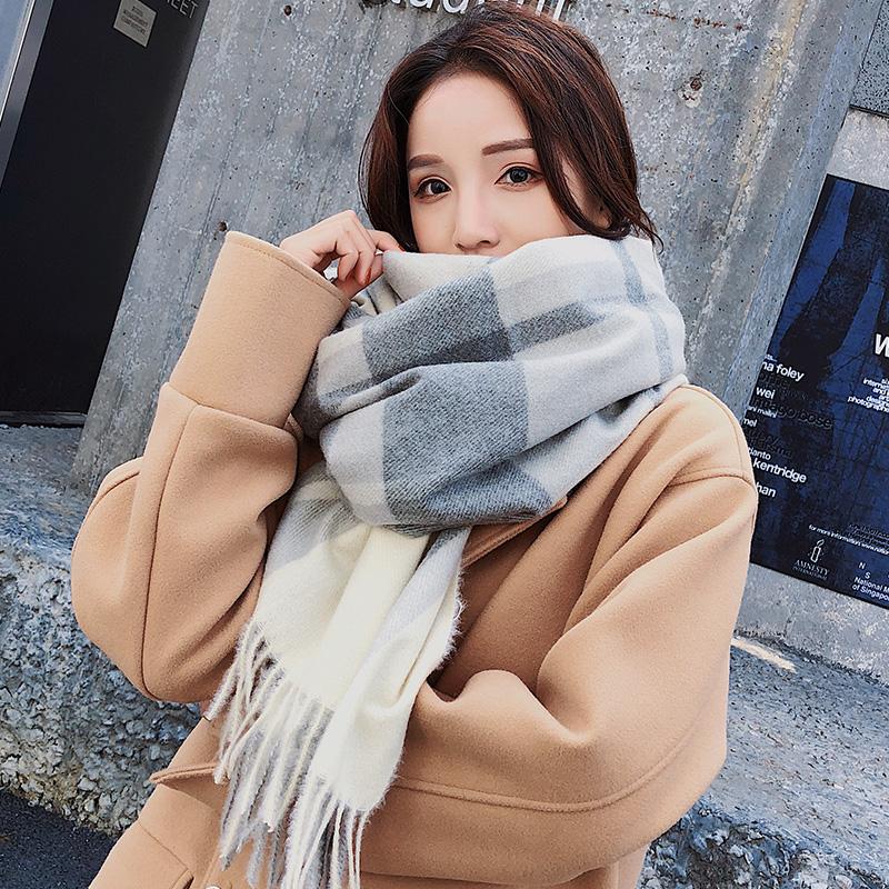 围巾女冬季韩版百搭加厚仿羊绒披肩两用学生格子围脖新款2018秋天