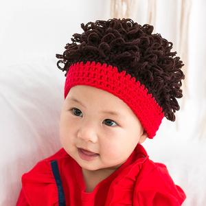 婴儿帽子春秋薄款男女童宝宝儿童假发发型帽超萌可爱毛线网红冬季