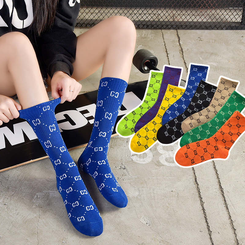 Stockings children European and American luxury letter fashion gold silver silk summer Japanese personalized fashion pure cotton thin calf socks