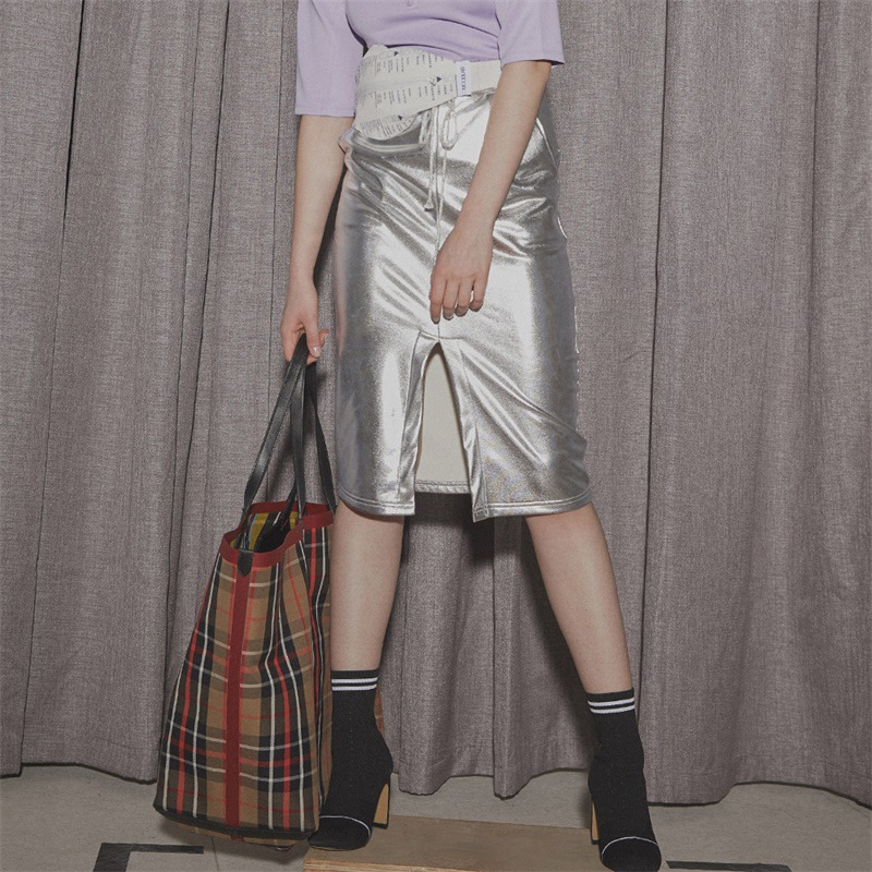 Showroom original fashionable new womens wear brand solid leather casual middle skirt with drawcord and gilding knee length skirt for women