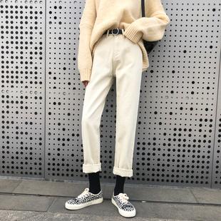 米白色直筒牛仔裤女秋冬季2019新款加绒高腰阔腿宽松烟管老爹裤子品牌