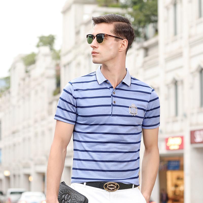 2021夏季新款翻领中青年商务休闲条纹男士短袖t恤爸爸装polo衫潮