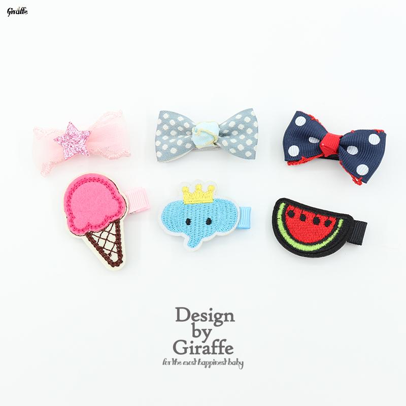 韩版儿童蝴蝶结卡通水果组合发夹女童婴儿发饰头夹头饰可爱全包夹12-01新券