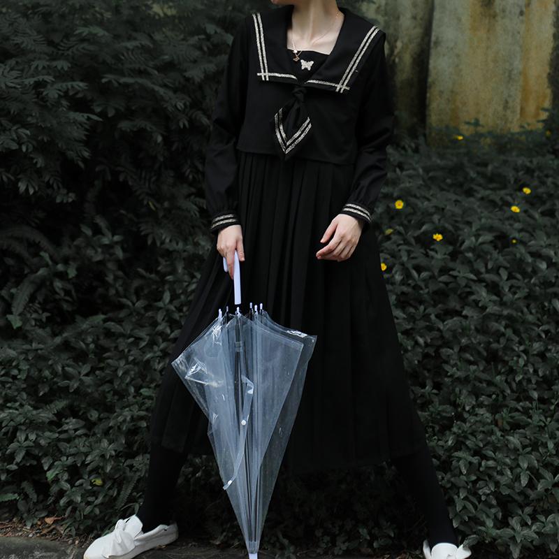 10月14日最新优惠芝士日【鎏金之蝶】原创jk风地狱少女暗黑系显瘦连衣裙长款制服裙