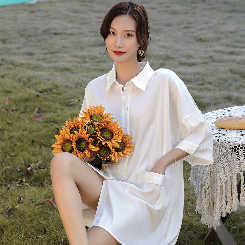 黎斐娅睡衣女春秋冰丝绸中长款白衬衫睡裙短袖风性感宽松夏季薄款