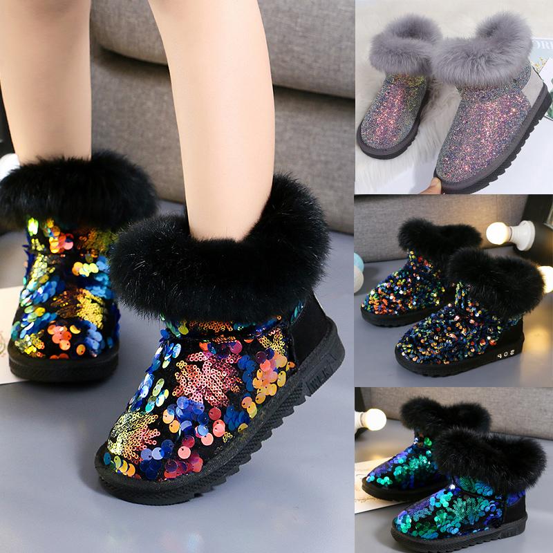 女童雪地靴2019年新款冬季加绒棉鞋加厚公主短靴子儿童棉靴中大童