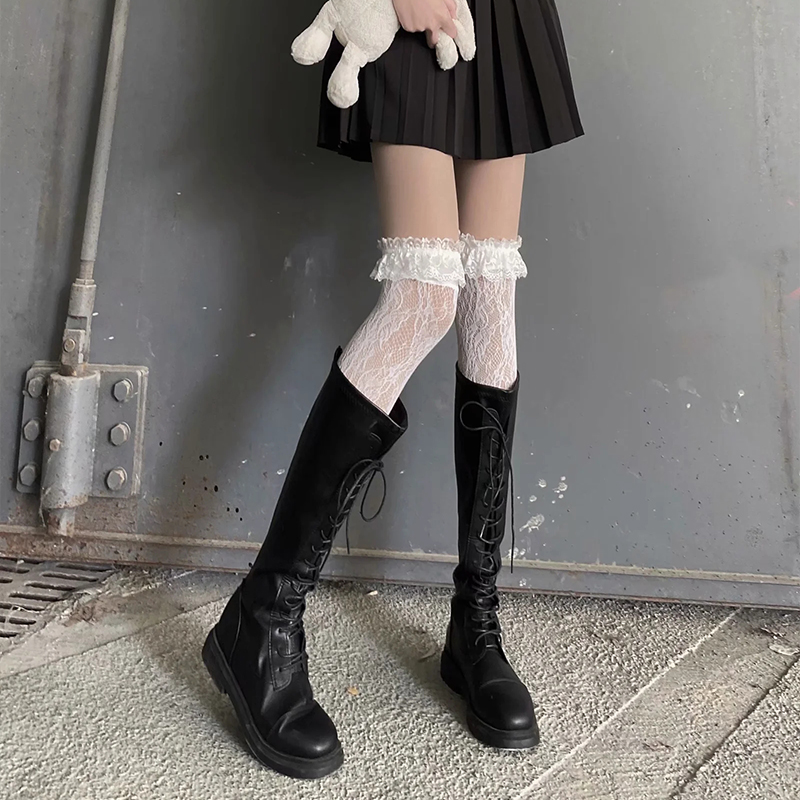 配长靴子的丝袜蕾丝过膝袜白色洛丽塔小腿袜jk花边袜子女中筒黑色