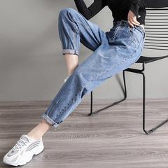 老爹裤牛仔裤女韩版直筒宽松网红2019新款女装春装阔腿哈伦萝卜裤