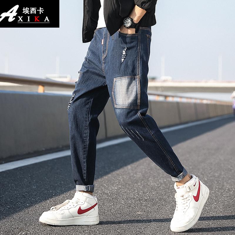 春款网红牛仔裤男抖音潮牌男大童小脚休闲裤中学生宽松直筒长裤子