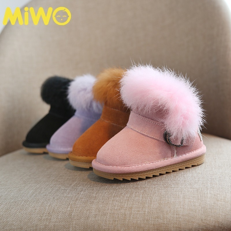 儿童真皮0-3岁1男冬季加绒雪地靴