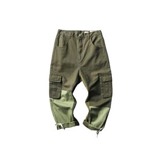 20SS日系潮牌拼接多口袋工裝褲男女BF風寬鬆直筒休閒褲闊腿老爹褲