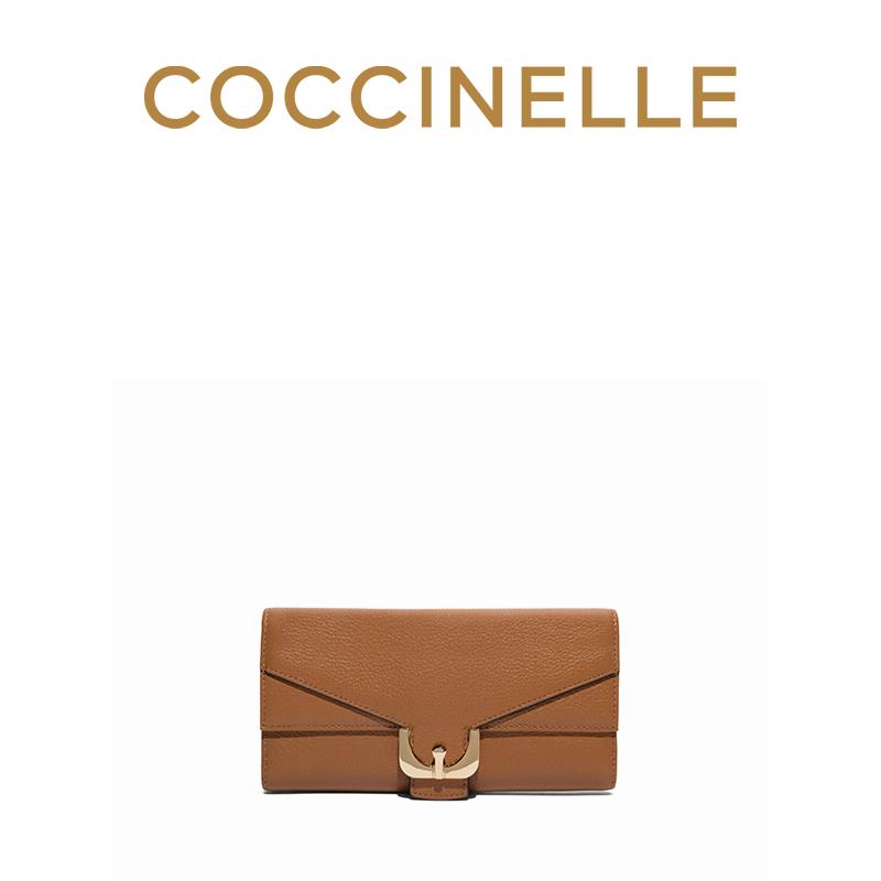 18新品COCCINELLE/可奇奈尔AMBRINE长款牛皮女士皮夹三折钱夹钱包