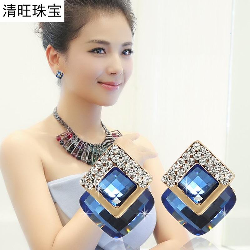韩国方形蓝宝石耳坠时尚甜美气质耳