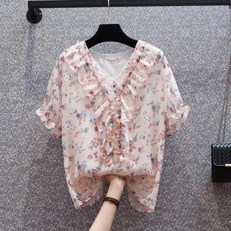 大碼碎花雪紡衫女夏季2021新款胖mm上衣寬松顯瘦洋氣小衫氣質襯衫