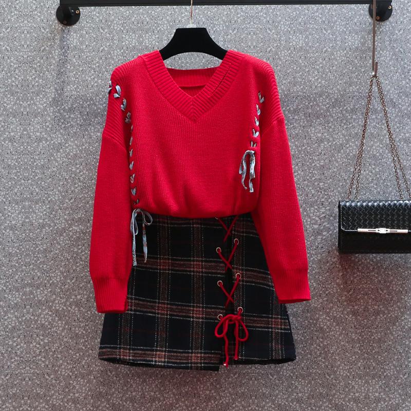 大码时尚套装女2021秋装新款胖妹妹显瘦裙子洋气毛衣配短裙两件套