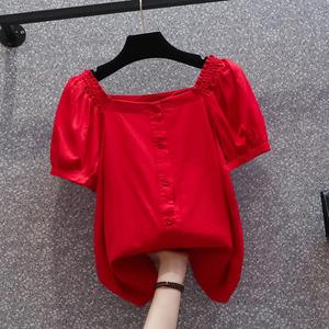 大碼2021新款夏季胖妹妹短袖寬松顯瘦遮肚子上衣設計感襯衫女小眾