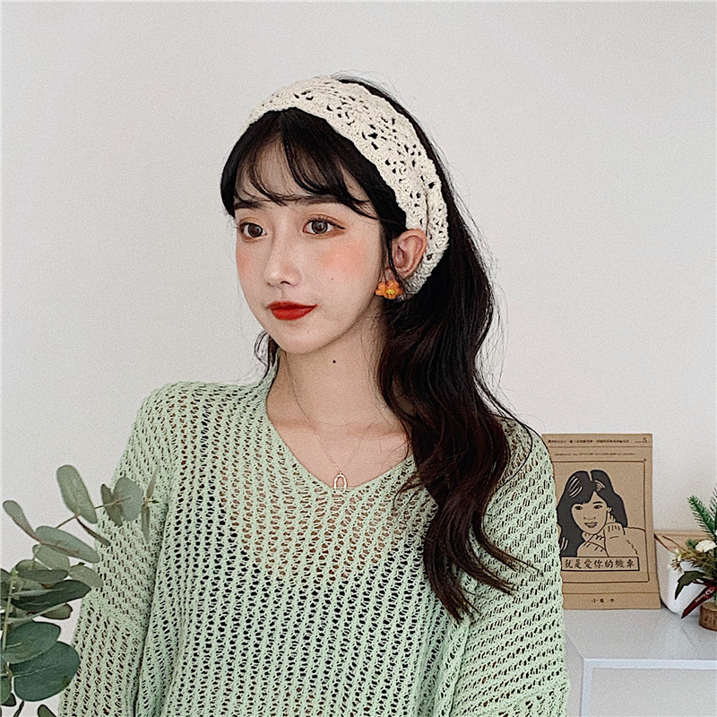 Korean version of female ins net red retro hundred-tie hoop knitted wool knitted wide-edged hair decoration Sennu lady hair band