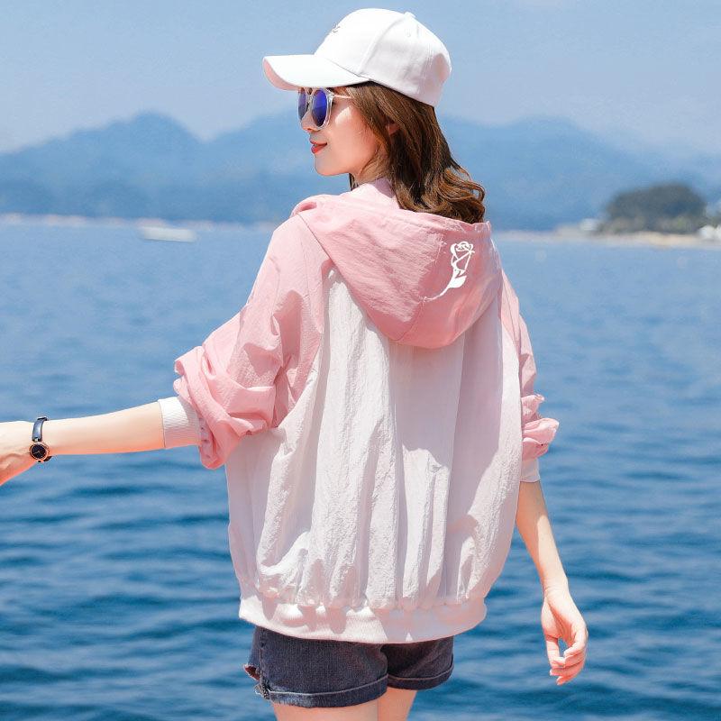 防晒衣女防紫外线透气2021夏季新款宽松韩版女士户外防晒服薄外套