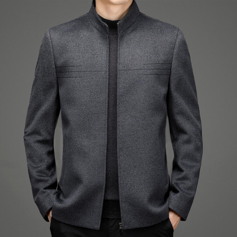 High grade genuine autumn and winter wool jacket mens coat solid color vertical collar loose middle-aged fathers thickened coat
