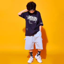少儿街舞服装男童宽松中国风短袖hiphop演出衣服帅气儿童嘻哈套装图片