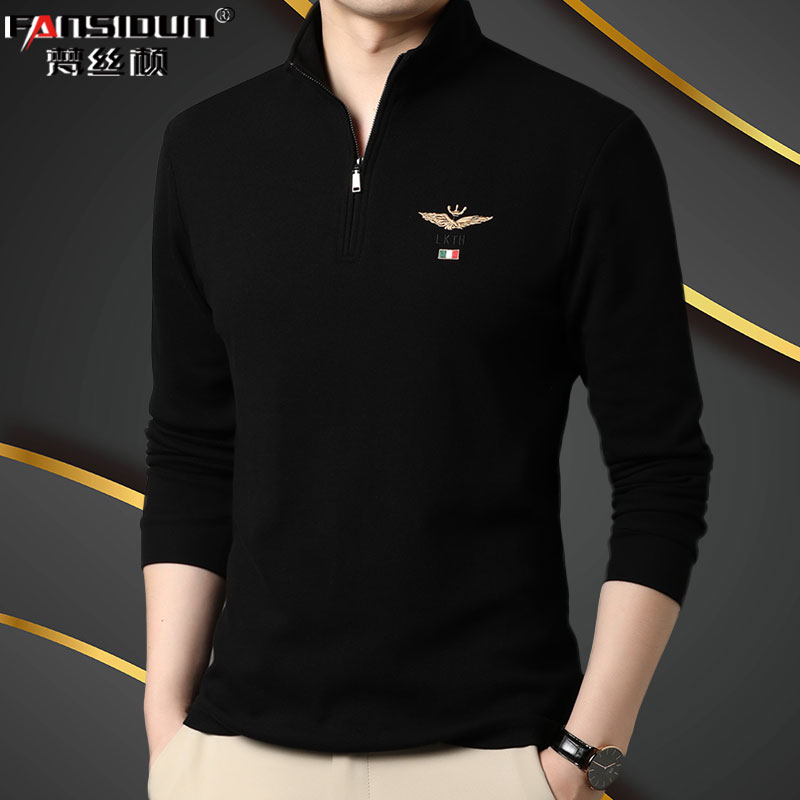 Cotton long sleeve T-shirt for young and middle-aged mens sports and leisure fashion belt zipper half high collar stand collar spring and autumn top polo shirt