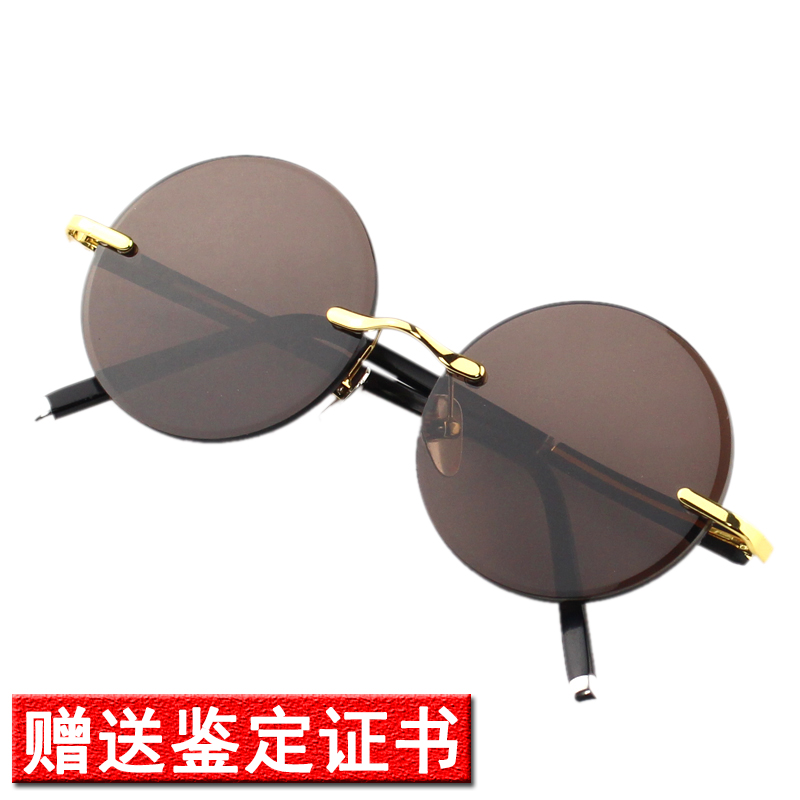 Mens flat round middle-aged and elderly glasses maintenance Glasses frameless Stone Classic Sunglasses pure crystal natural